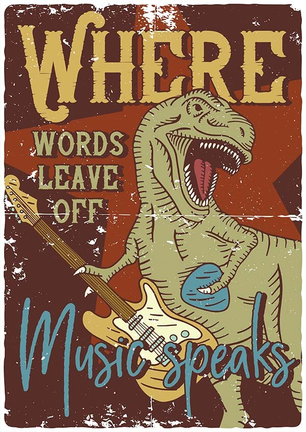 T-rex_music_4 104 T-shirts And Posters Designs