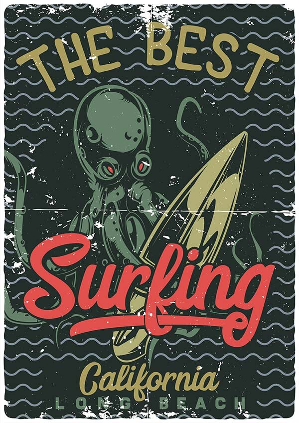 surfing_octopus2_4 104 T-shirts And Posters Designs